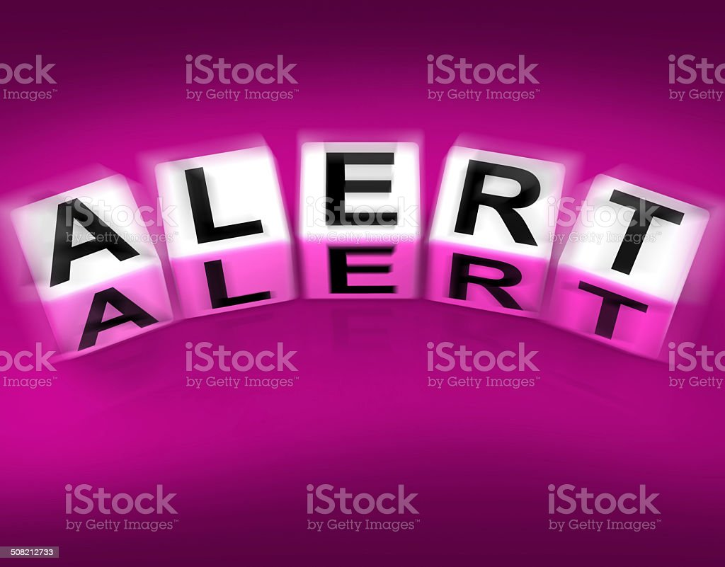 Alert Blocks Displays Notification Alerts and Notice stock photo