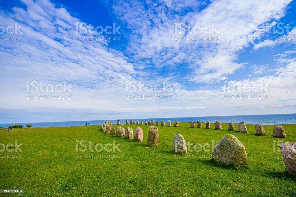 Ales stones in Skane, Sweden stock photo