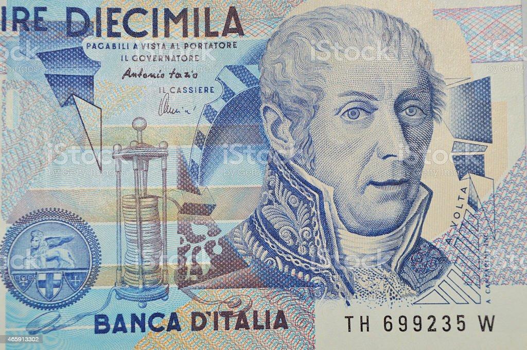 alessandro volta billete de banco de lira italiana en foto de stock libre de derechos