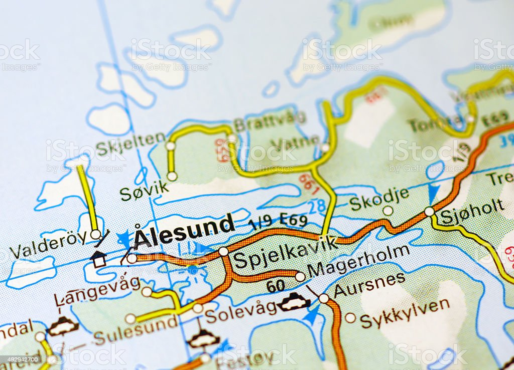 Alesund area on a map stock photo