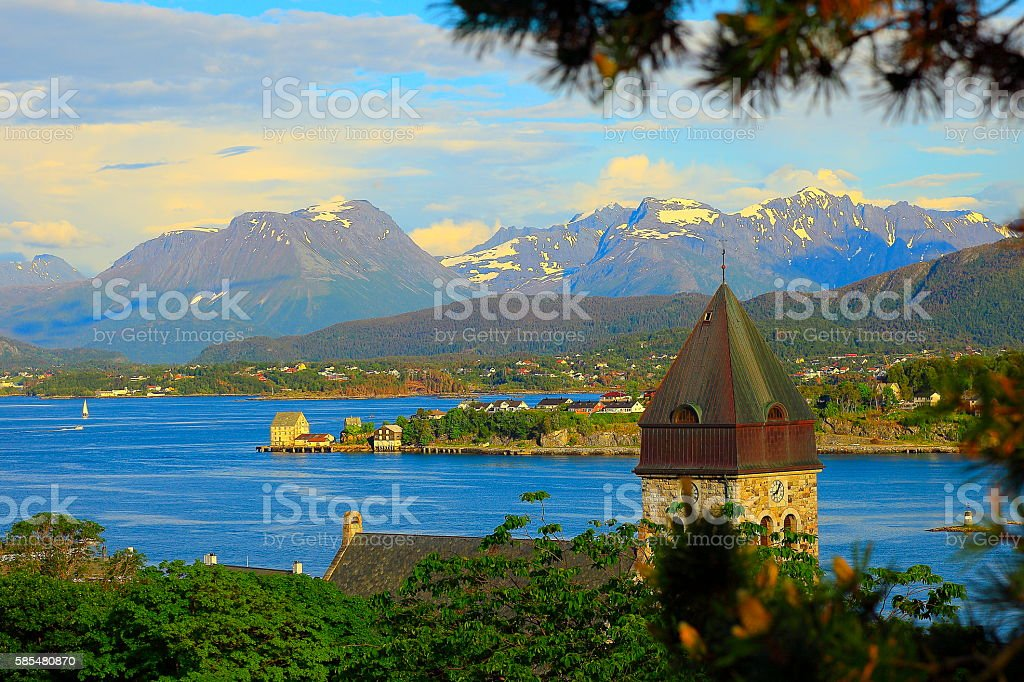 Alesund Bay harbor panorama, dramatic sunset landscape, Norway, Scandinavia stock photo