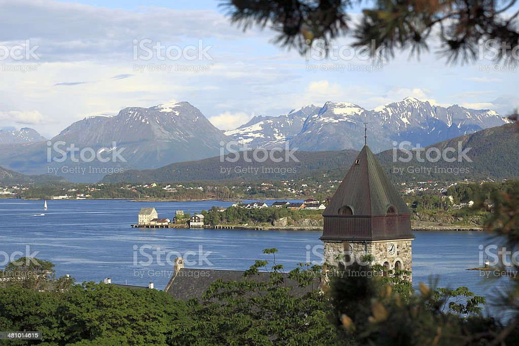 Alesund bay sea port and fjord mountain range - Norway stock photo