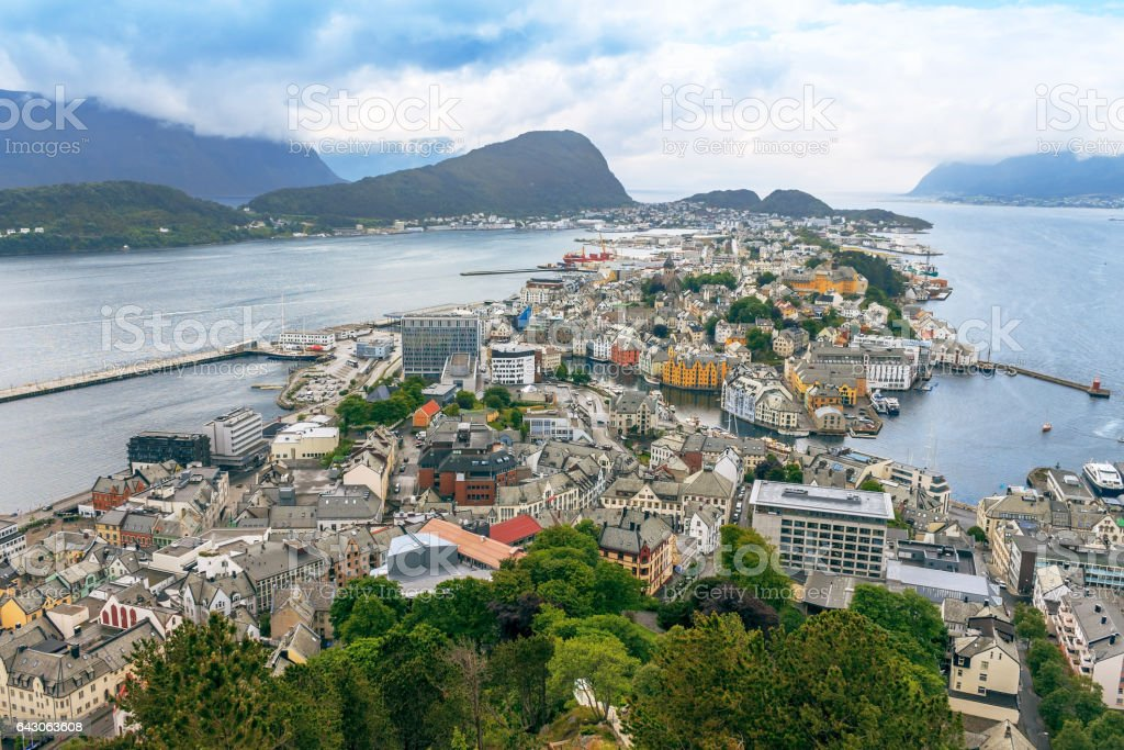 Alesund, Norway - town houses on sea front stock photo