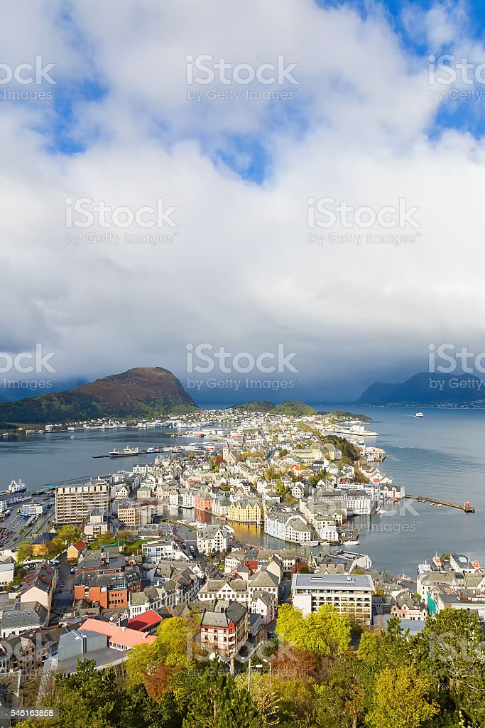 Alesund on the Norwegian coast stock photo