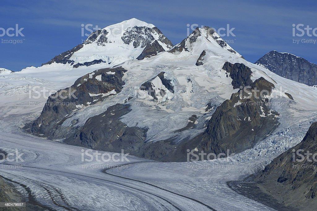 Aletch the longest glacier in Alps royalty-free stock photo