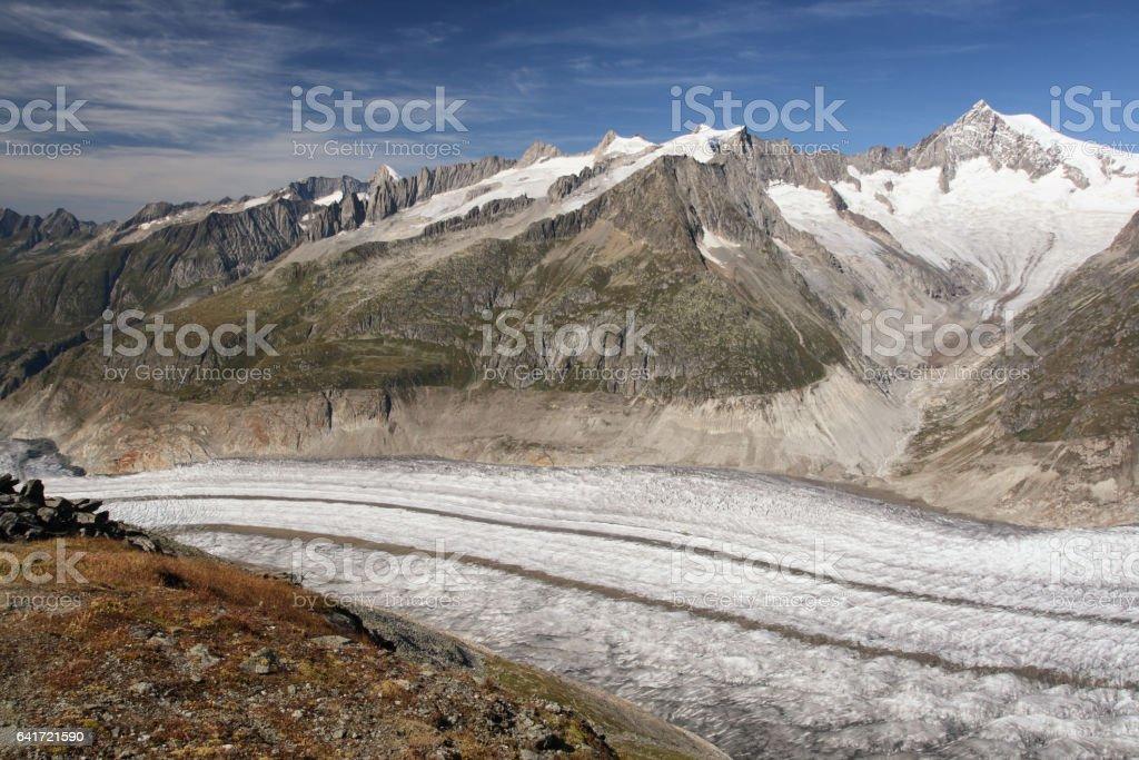 Aletsch arena Glacier in Switzerland Alps mountain stock photo