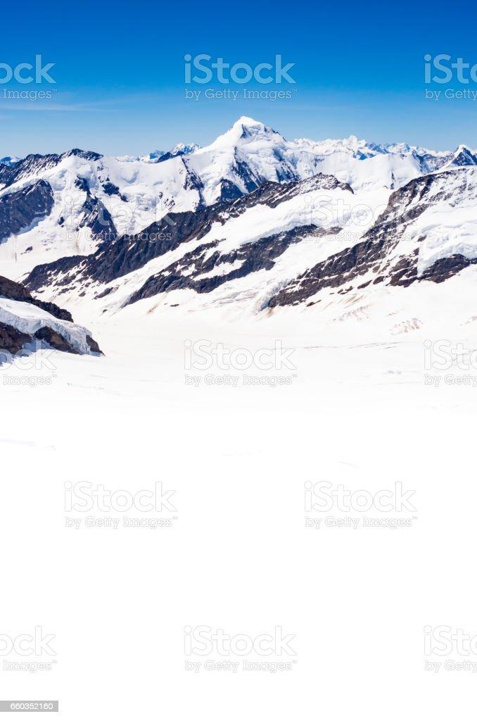 Aletsch Glacier and Aletschhorn, Switzerland. stock photo