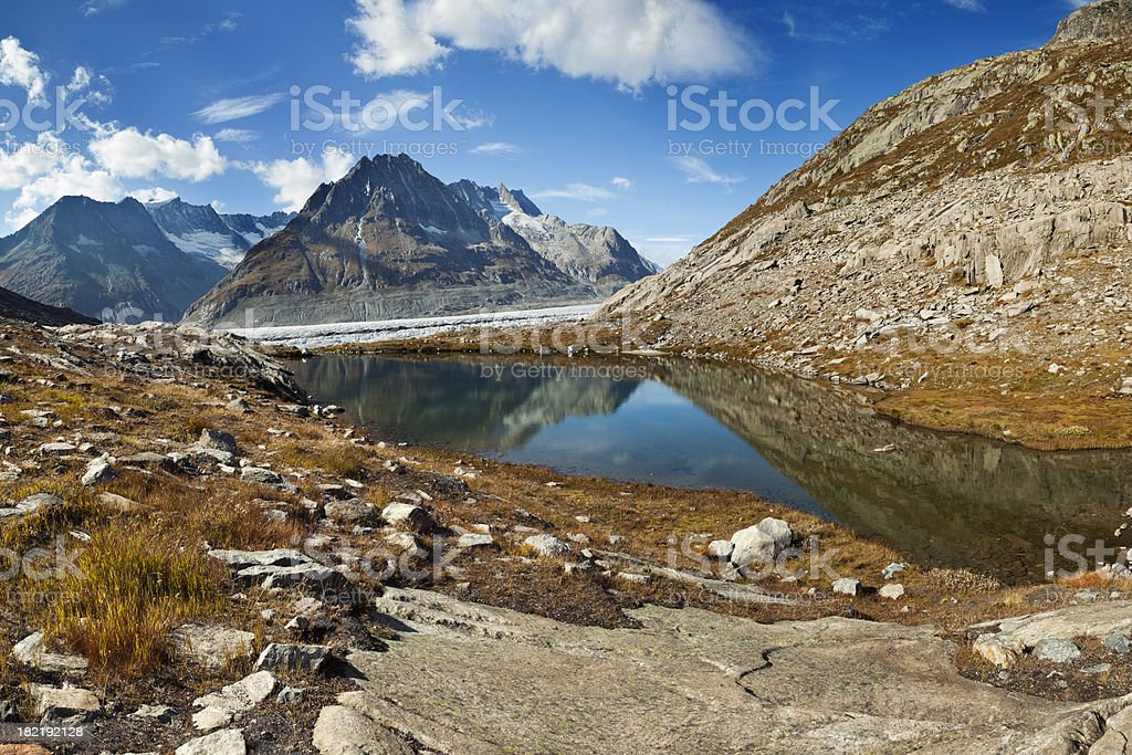 Aletsch Glacier and mountain peaks, European Alps in Switzerland royalty-free stock photo