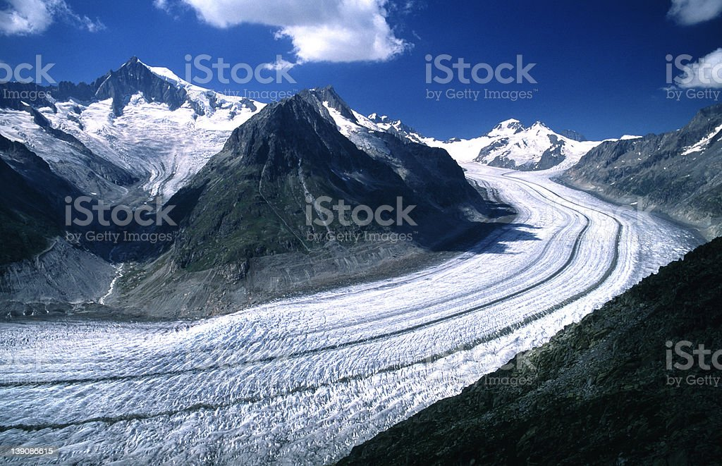 Aletsch Glacier, central Switzerland stock photo