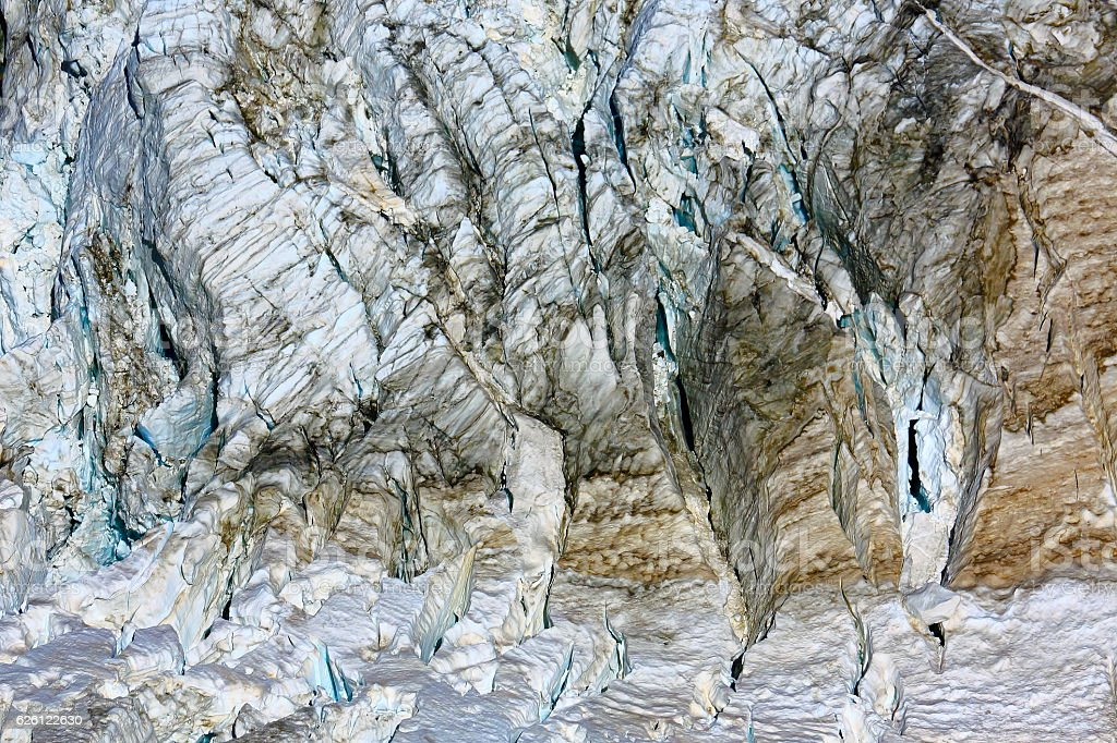 Aletsch Glacier crevasses close up pattern, abstract background, Swiss Alps stock photo
