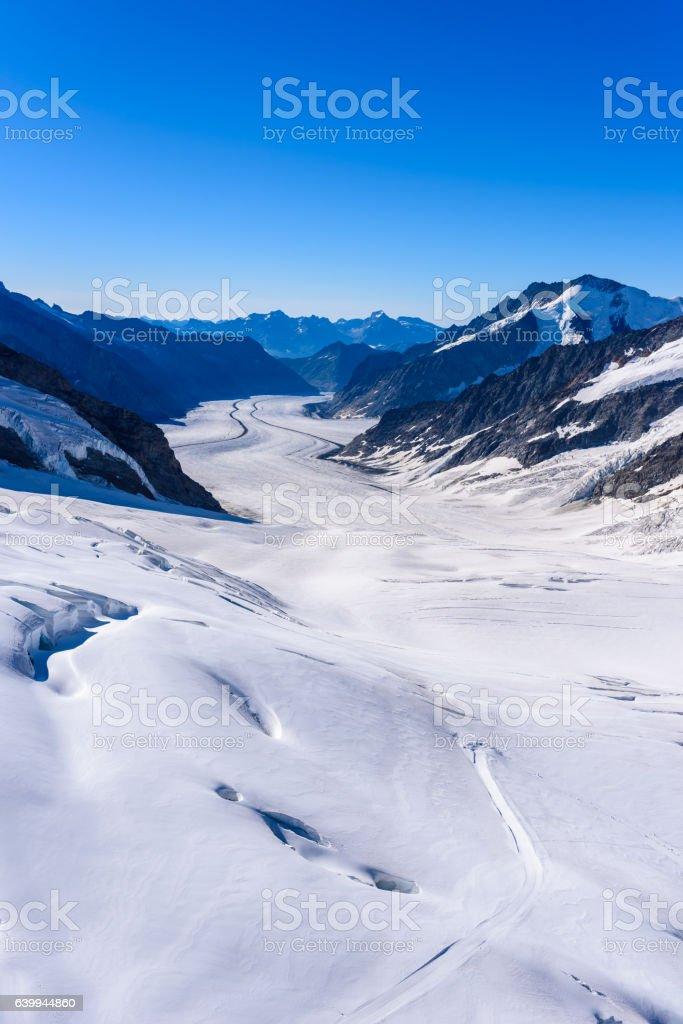 Aletsch glacier - ice landscape in Alps of Switzerland, Europe stock photo