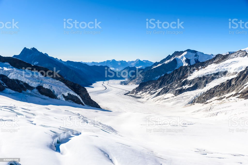 Aletsch glacier - ice landscape in Alps of Switzerland, Europe stock photo