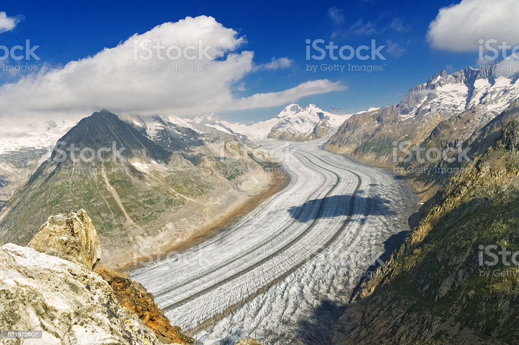 Aletsch glacier in Alps, summer in mountains stock photo