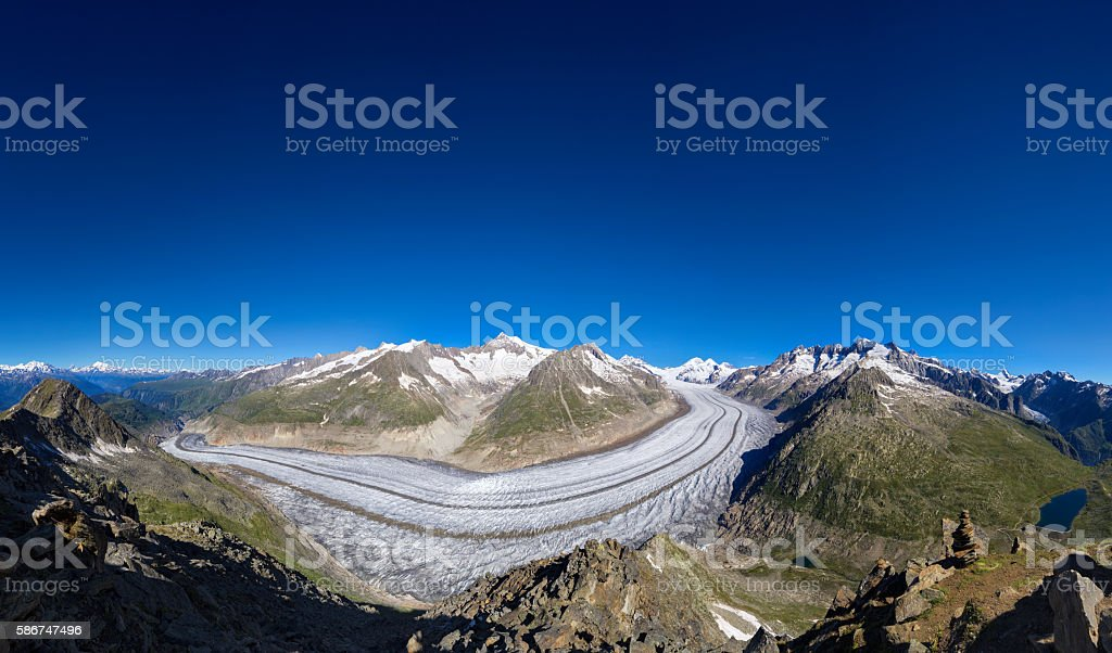 Aletsch glacier in Alps, summer in mountains XXL Panorama stock photo