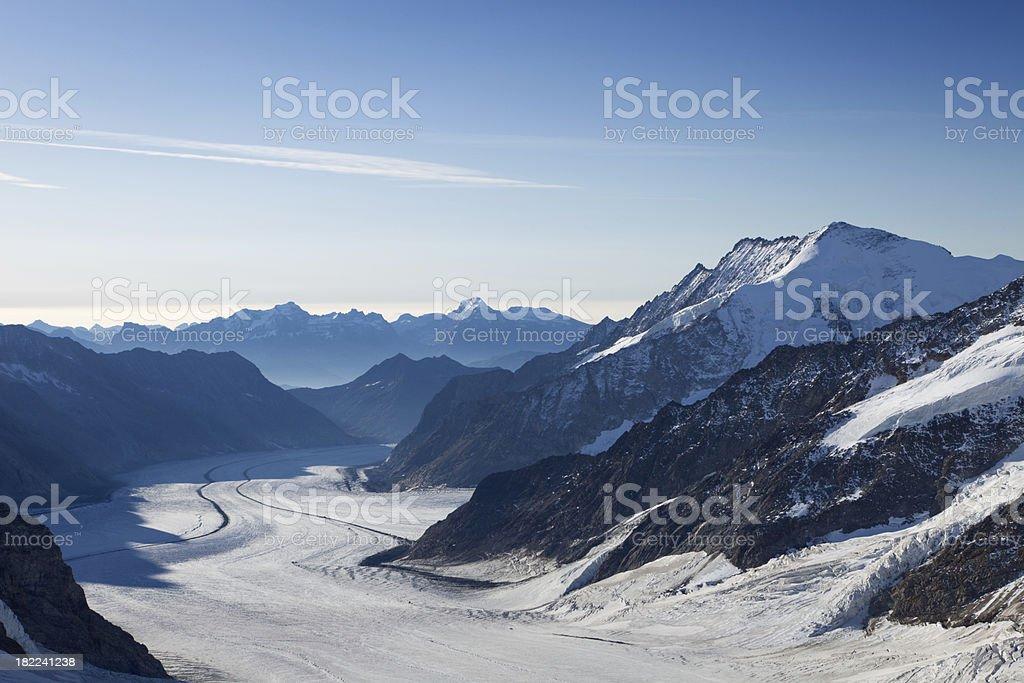 Aletsch glacier in early morning light from Jungfraujoch in Switzerland royalty-free stock photo