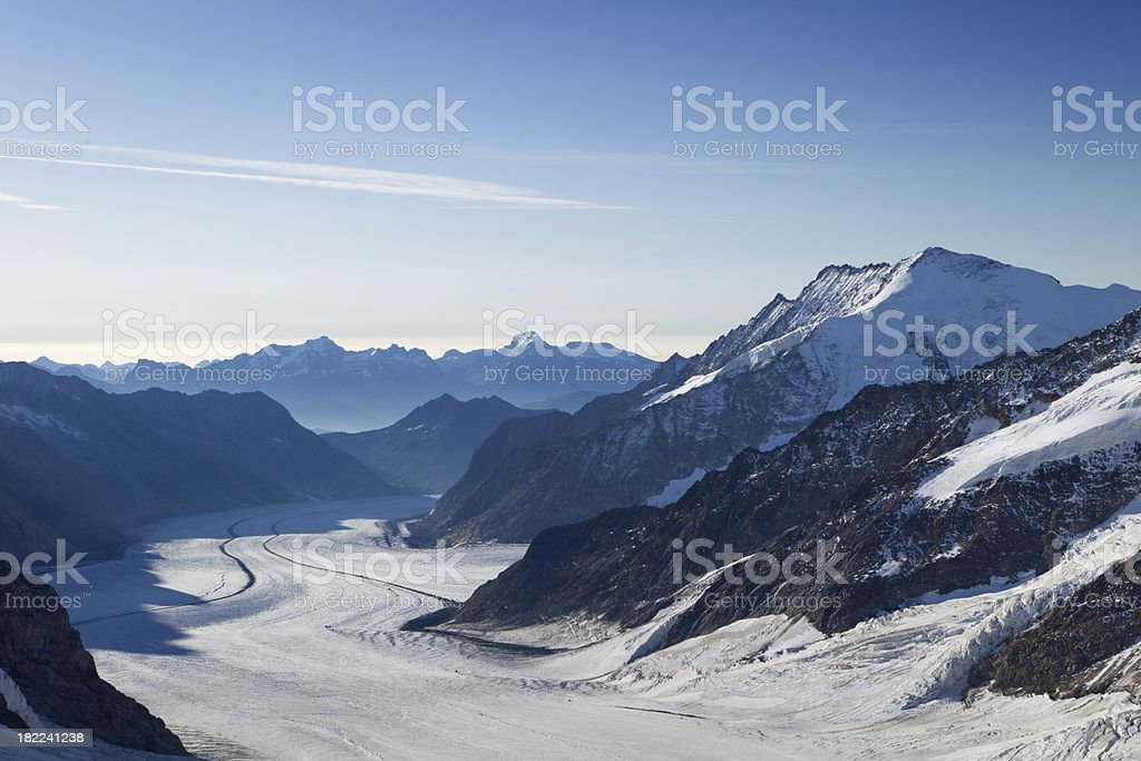Aletsch glacier in early morning light from Jungfraujoch in Switzerland stock photo