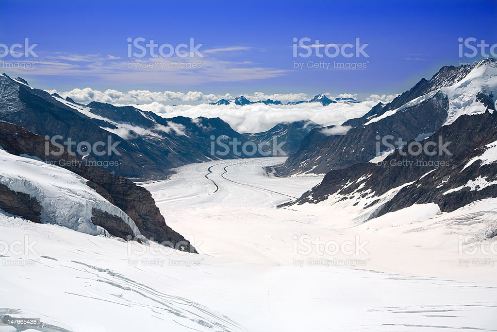 Aletsch Glacier in the Alps Switzerland royalty-free stock photo