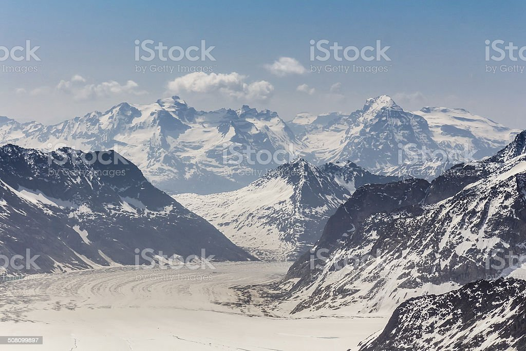 Aletsch Glacier in the Jungfraujoch, Swiss Alps, Switzerland stock photo