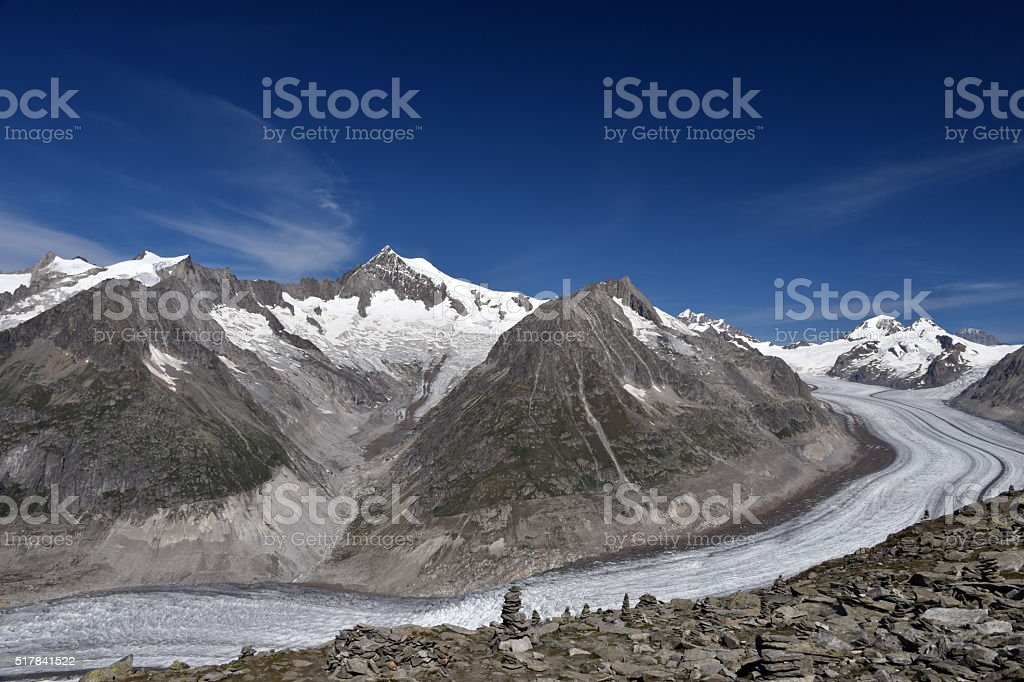 Aletsch Glacier in the Swiss Alps stock photo