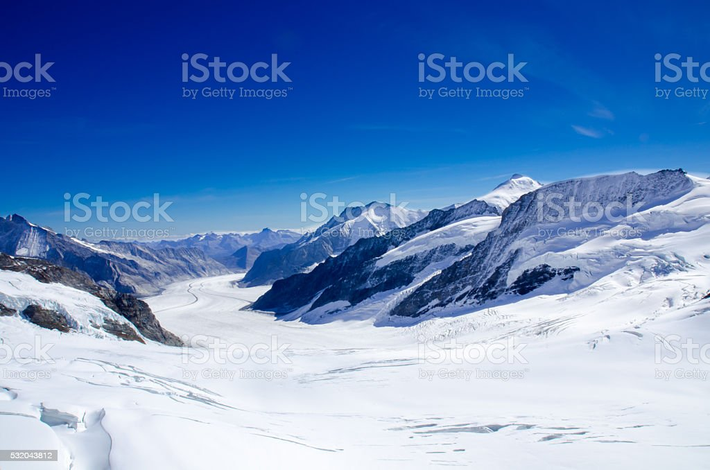 Aletsch Glacier, Jungfraujoch, Switzerland stock photo