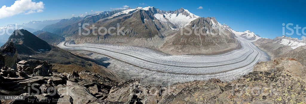 Aletsch Glacier Panorama, Switzerland stock photo