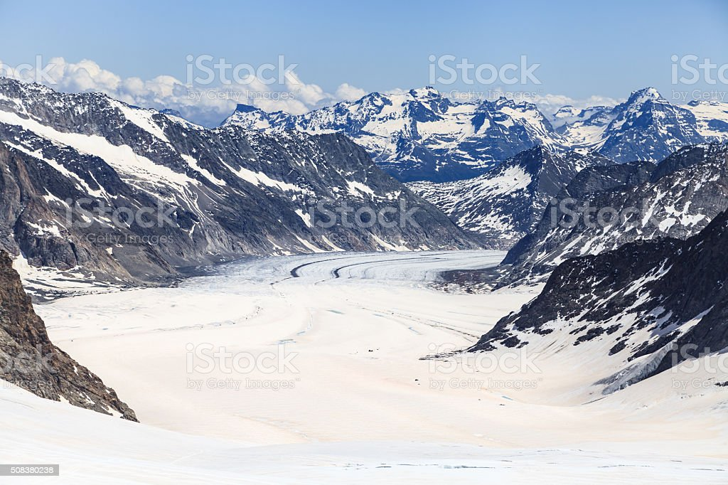 Aletsch glacier view from Jungfraujoch, the highest railway stat stock photo