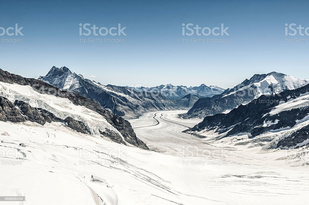 Aletsch Glacier with Konkordiaplatz, Switzerland - III royalty-free stock photo