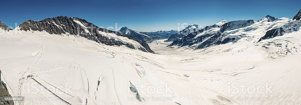Aletsch Glacier with Konkordiaplatz, Switzerland (panoramic) - IV stock photo
