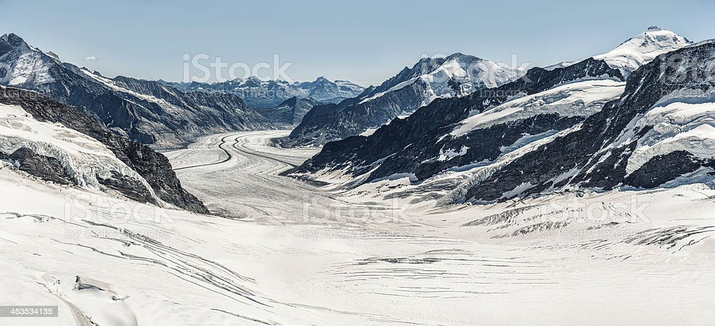 Aletsch Glacier with Konkordiaplatz, Switzerland (panoramic) - V royalty-free stock photo