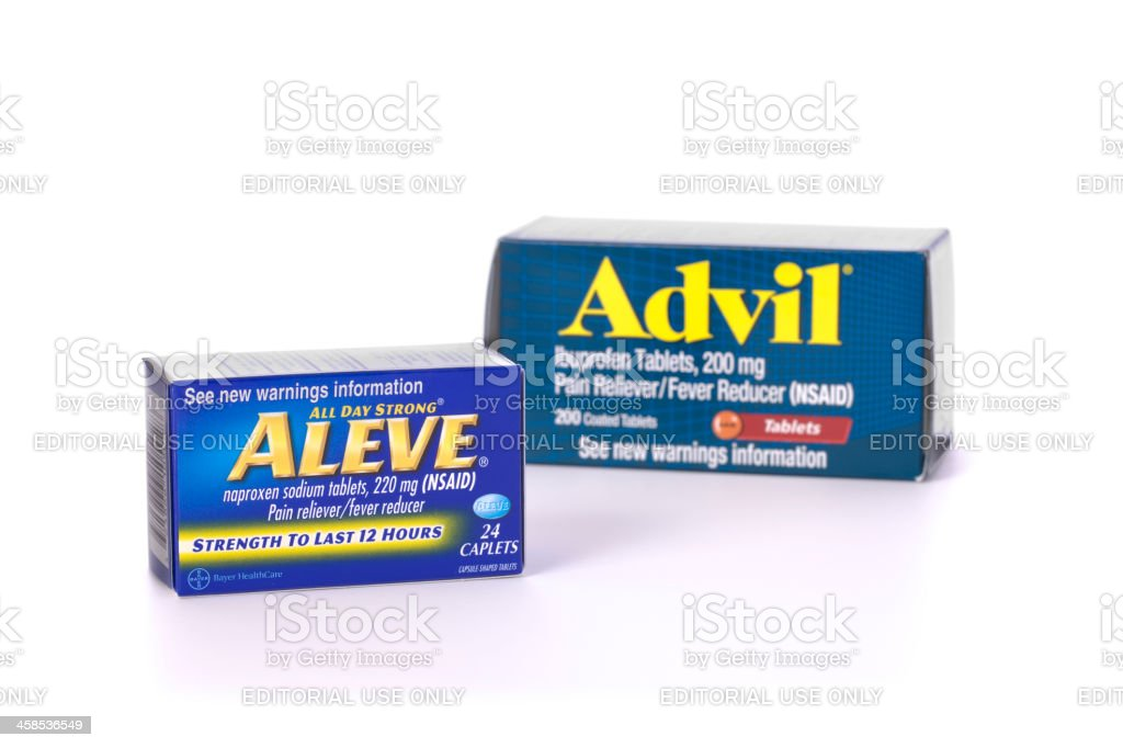 Aleve and Advil isolated on white stock photo