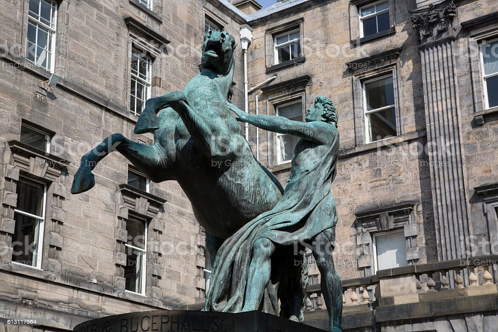 Alexander and Bucephalus Statue by Steell, City Chambers stock photo