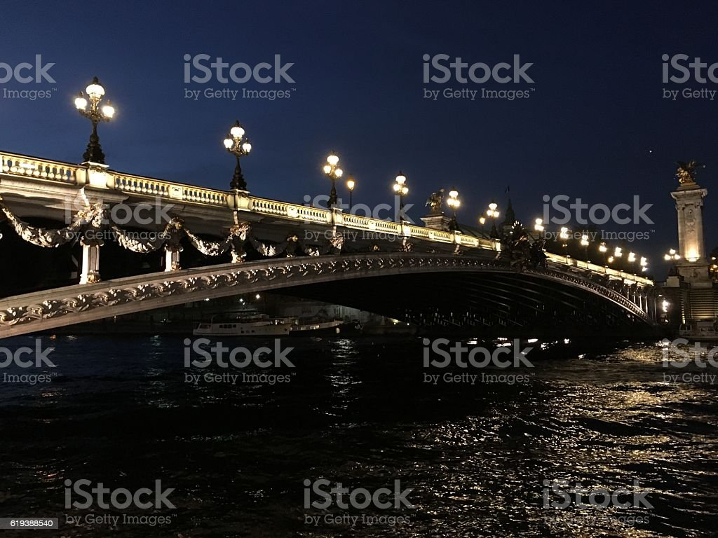 Alexander Bridge at night stock photo
