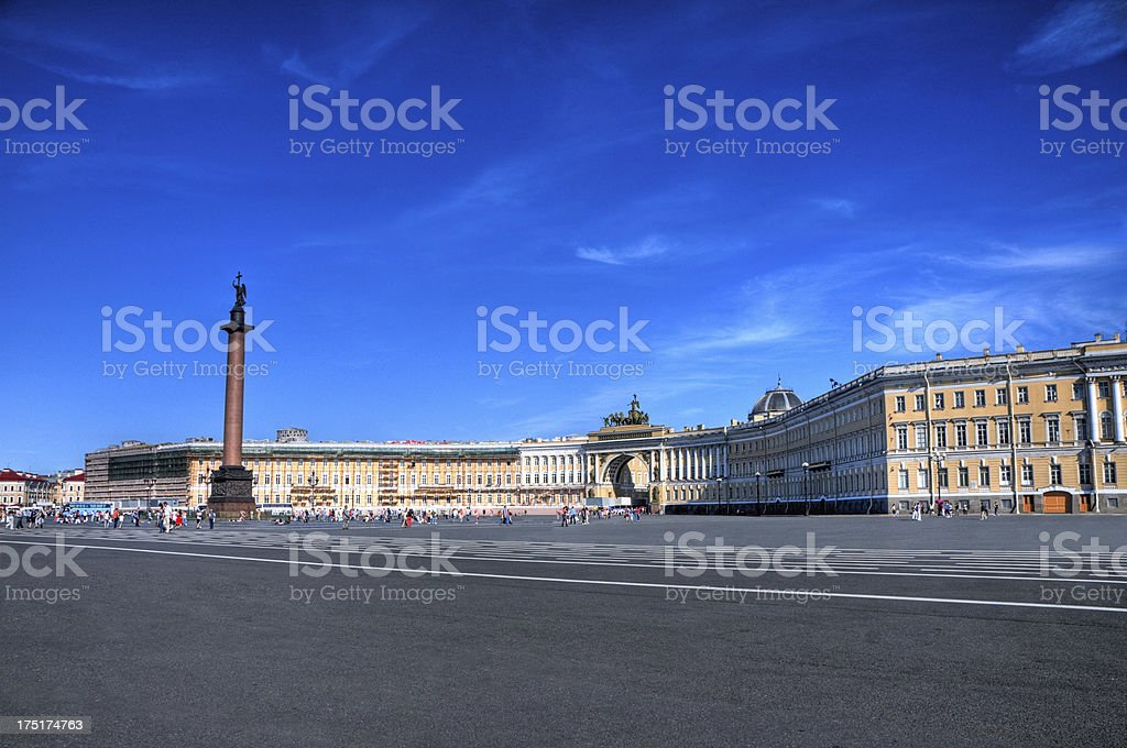Alexander Column and Palace Square stock photo