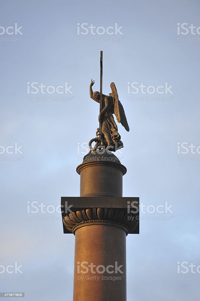 Alexander Column and Palace Square- Saint Petersburg   Sankt-Peterburg stock photo