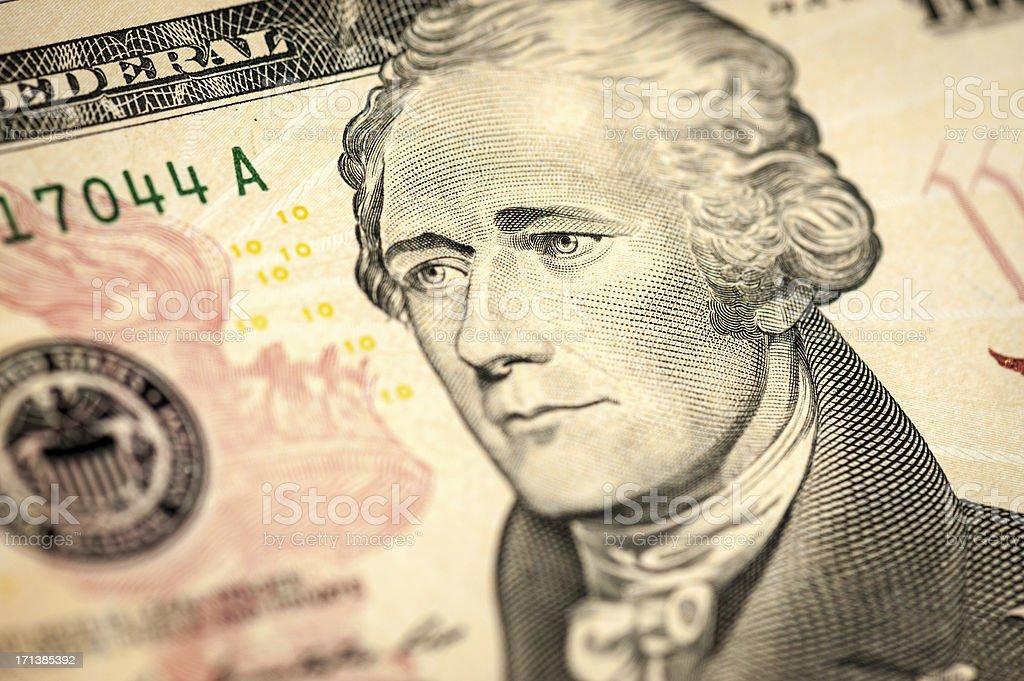 Alexander Hamilton 10 dollar bill closeup stock photo