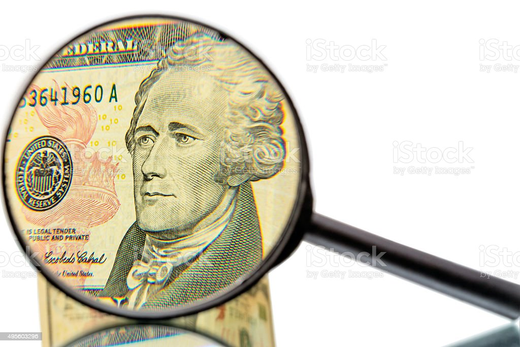 Alexander Hamilton and magnifier stock photo