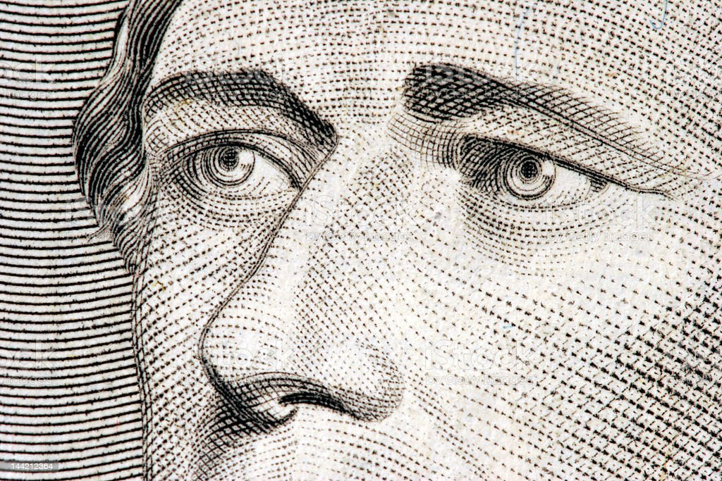Alexander Hamilton close up from 10 dollar bill stock photo