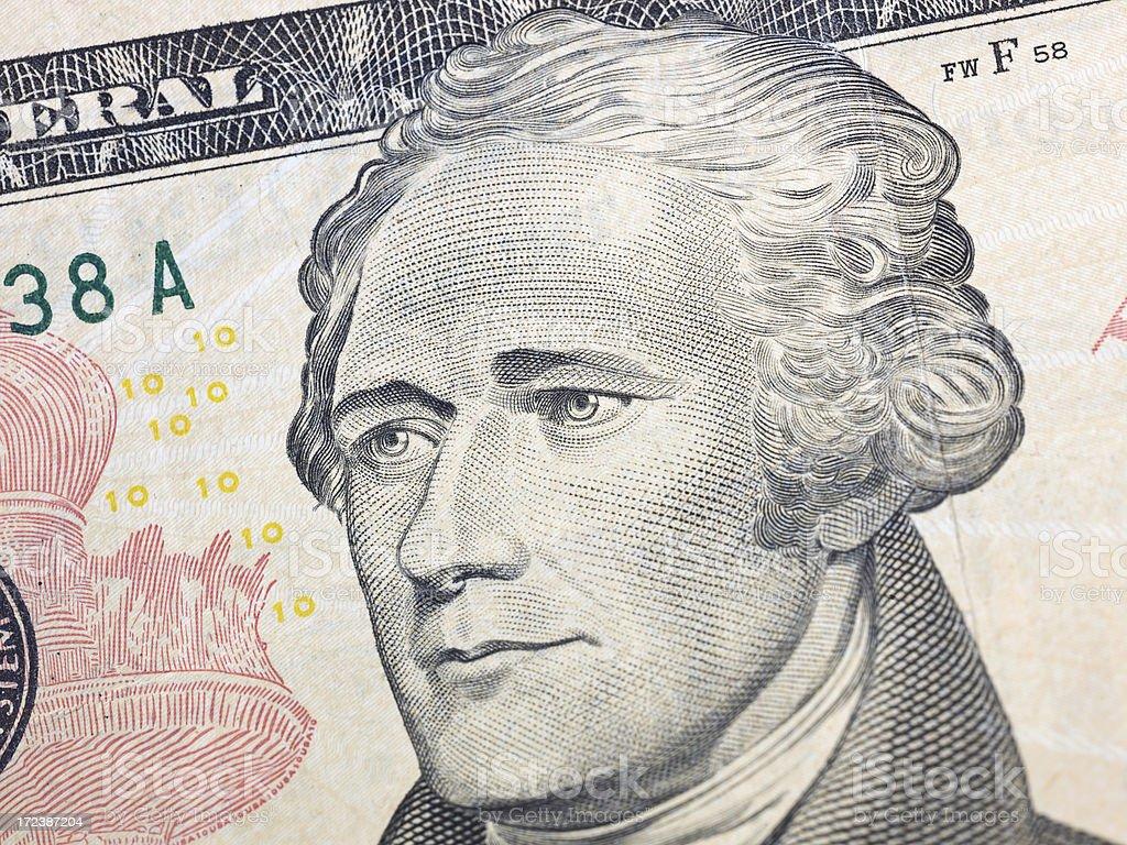 Alexander Hamilton on ten dollar banknote royalty-free stock photo