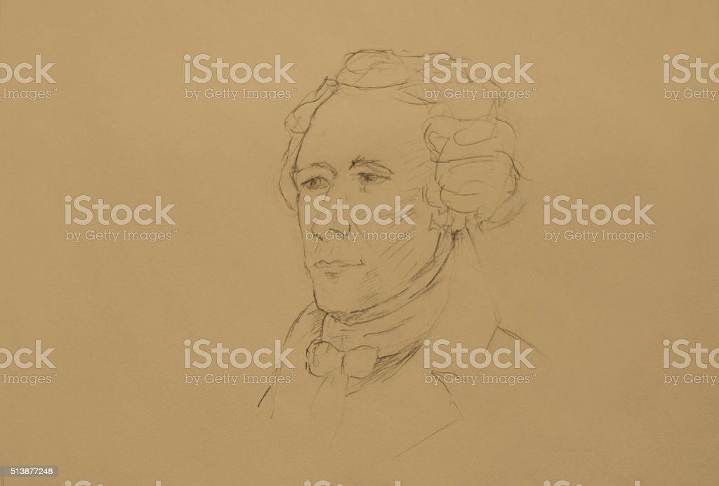 Alexander Hamilton Original Sketch; Copy Space stock photo