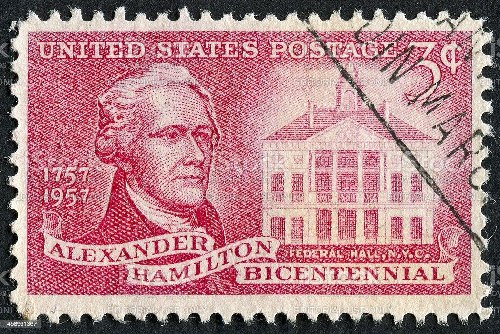 Alexander Hamilton Stamp stock photo