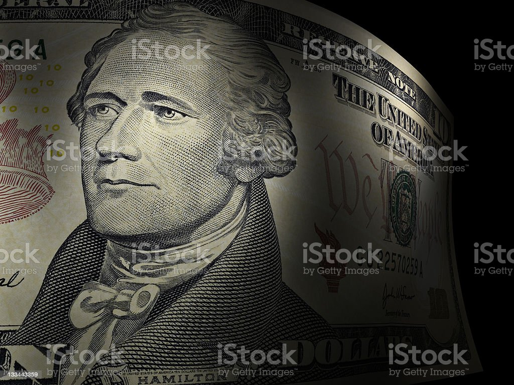 Alexander Hamilton's close up in a ten dollar bill stock photo