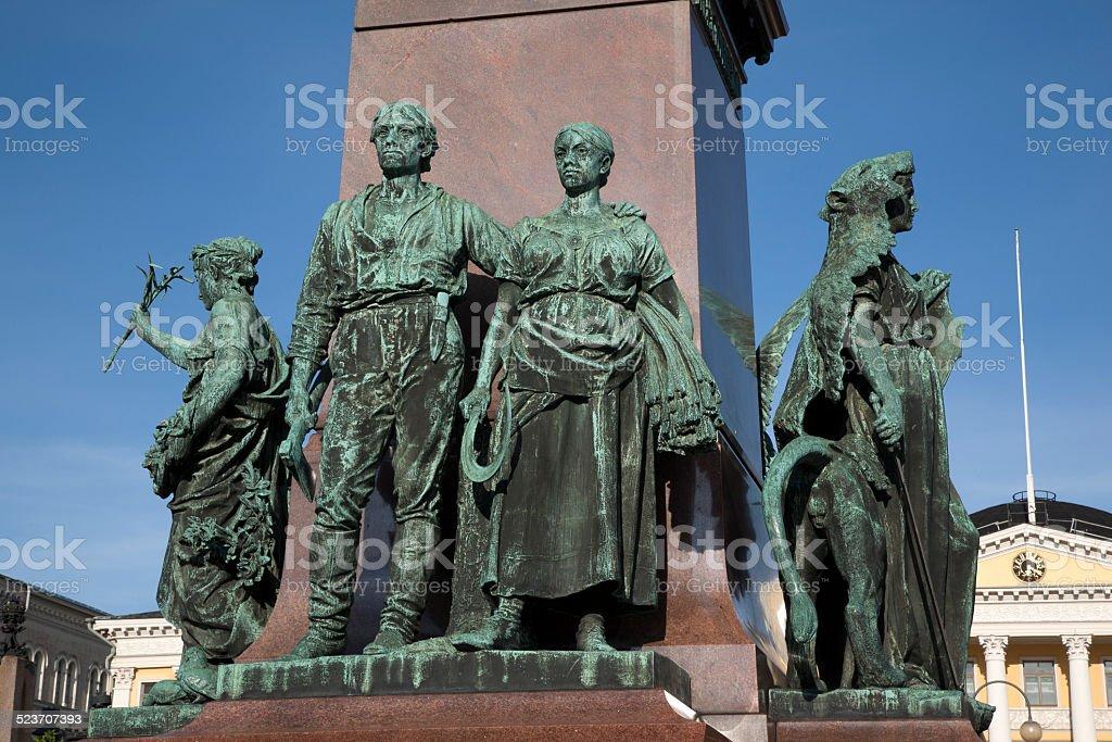Alexander II Monument (1894), Senate Square, Helsinki stock photo