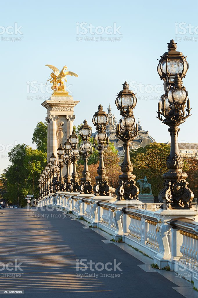 Alexander III bridge in Paris, empty in the morning stock photo