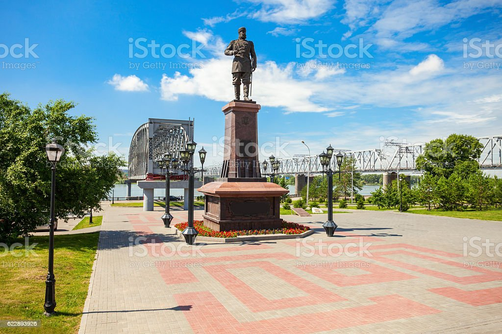 Alexander III Monument, Novosibirsk stock photo