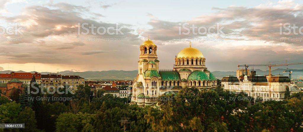 Alexander Nevski cathedral panorama stock photo