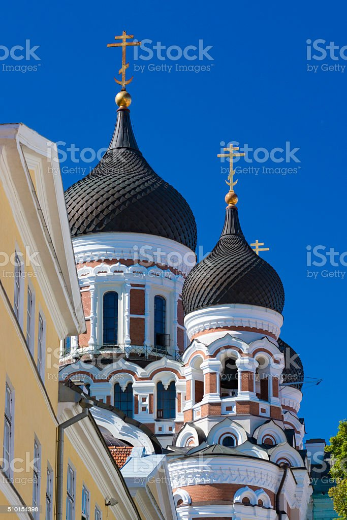 Alexander Nevski Russian Orthodox cathedral stock photo