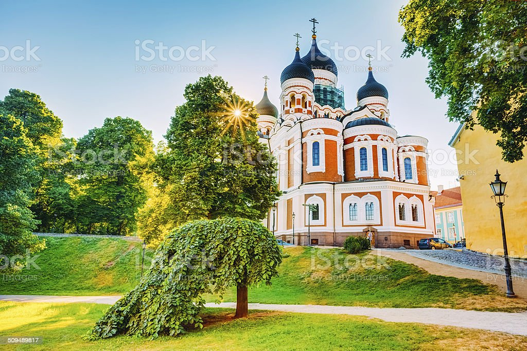 Alexander Nevsky Cathedral, An Orthodox Cathedral Church In The stock photo