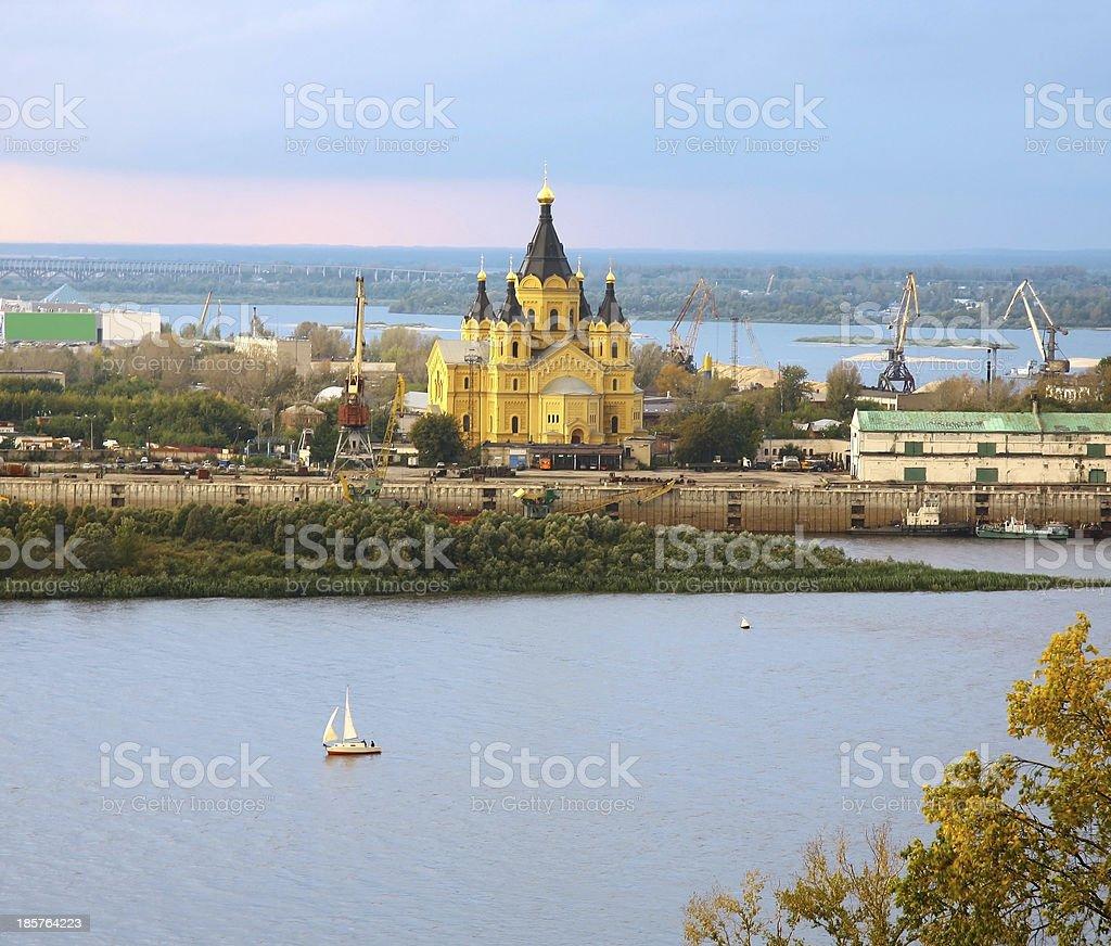 Alexander Nevsky Cathedral and sailboat on confluence rivers Nizhny Novgorod stock photo