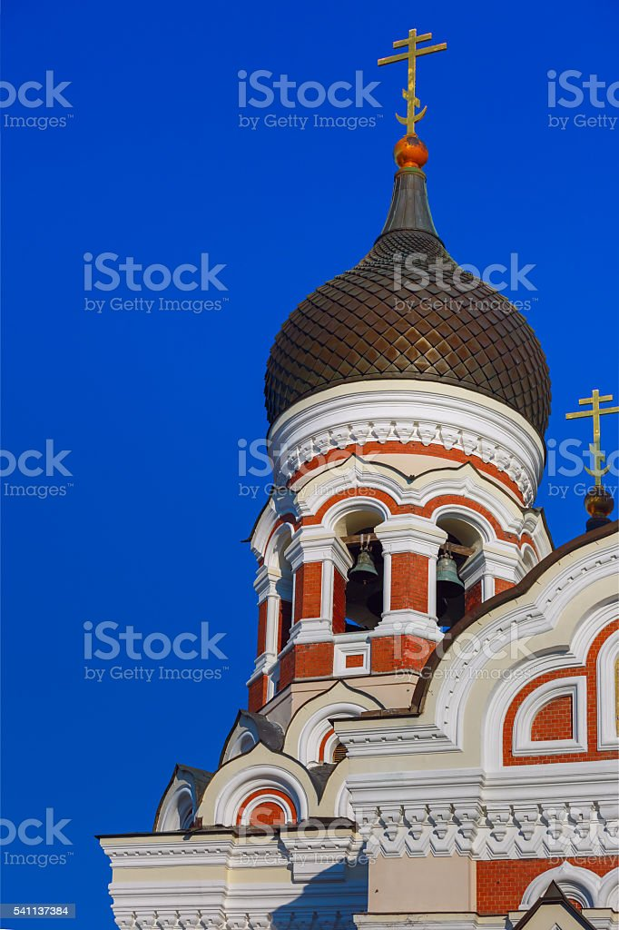 Alexander Nevsky Cathedral and Tallinn street stock photo