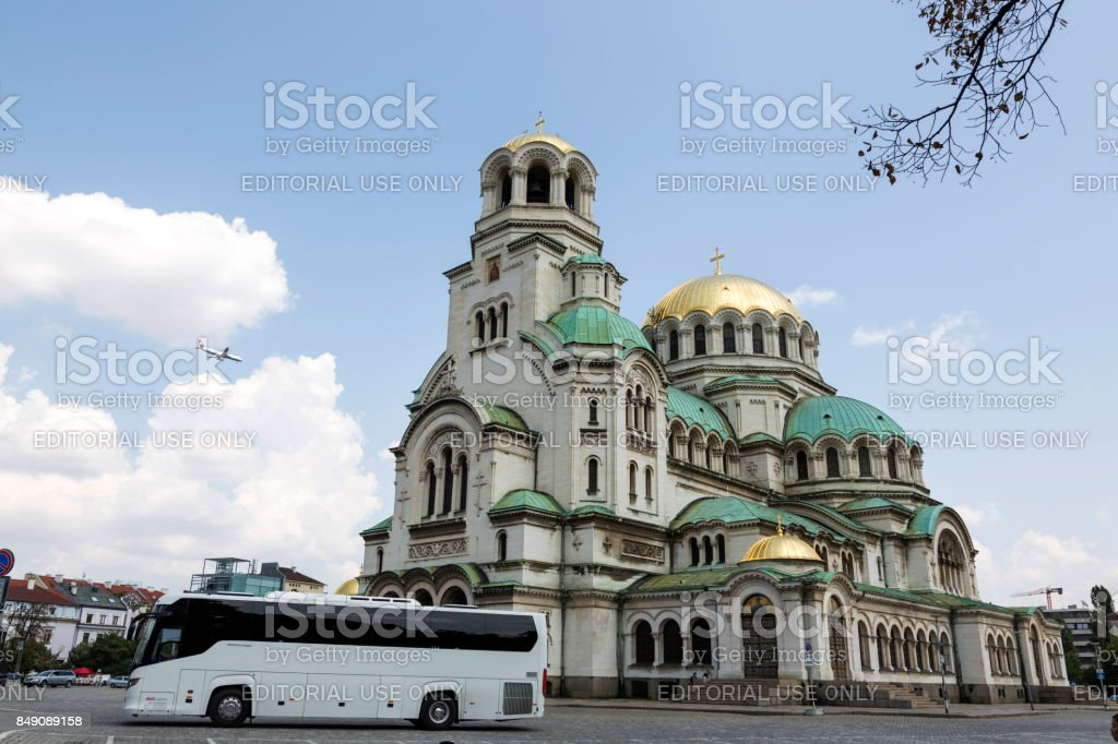 Alexander Nevsky Cathedral on the square in Sofia, Bulgaria. stock photo